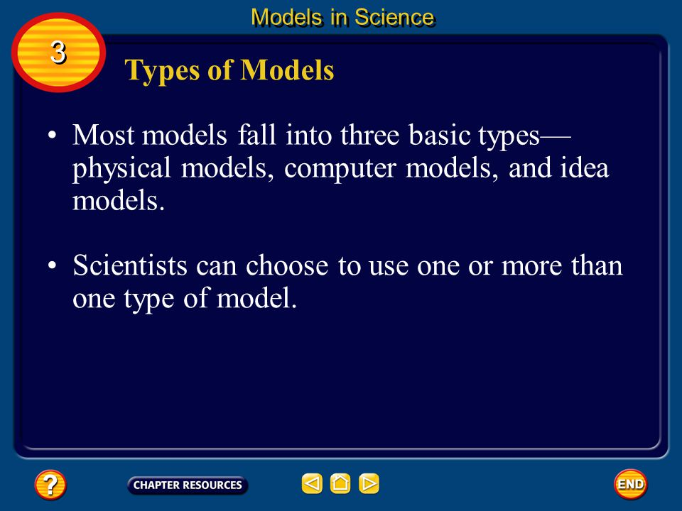 Scientists can choose to use one or more than one type of model.