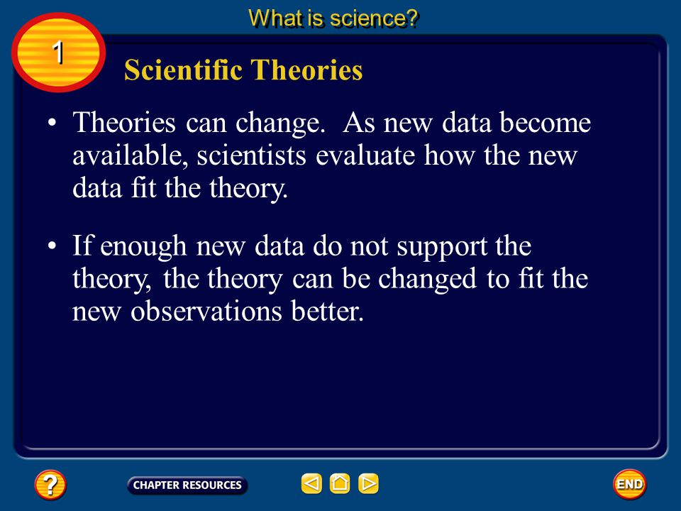 What is science 1. Scientific Theories. Theories can change. As new data become available, scientists evaluate how the new data fit the theory.