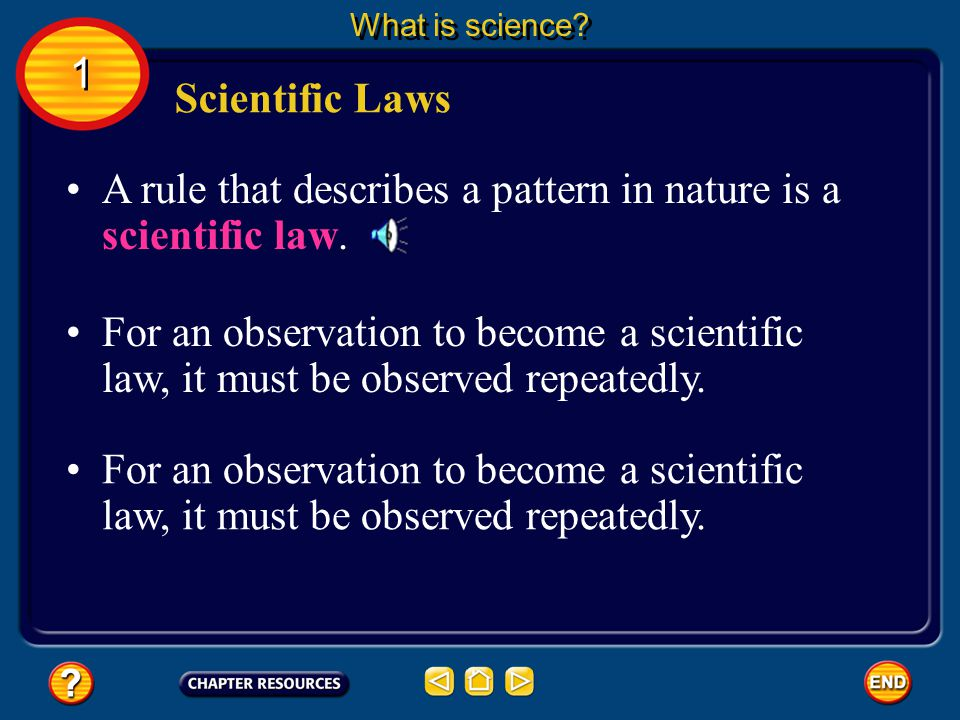A rule that describes a pattern in nature is a scientific law.