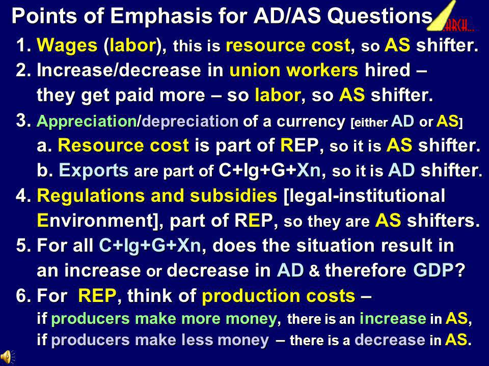 Points of Emphasis for AD/AS Questions
