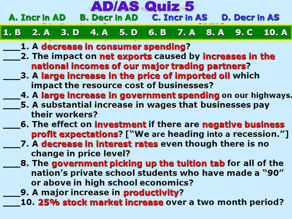 AD/AS Quiz 5 A. Incr in AD B. Decr in AD C. Incr in AS D. Decr in AS