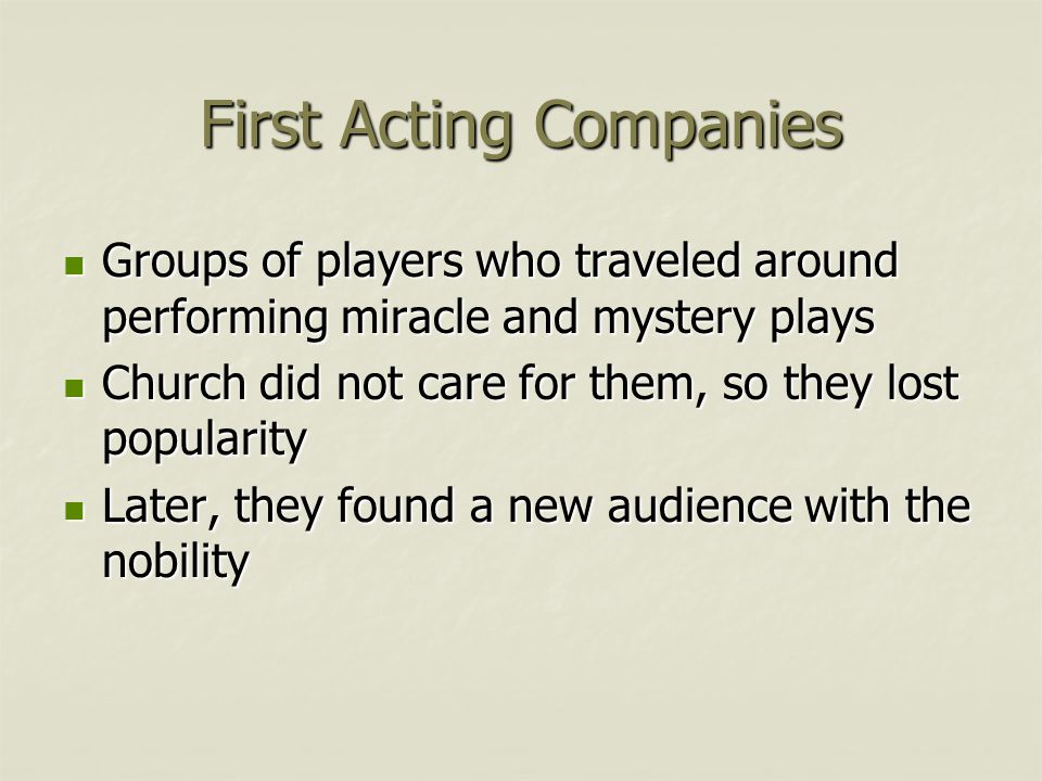 First Acting Companies