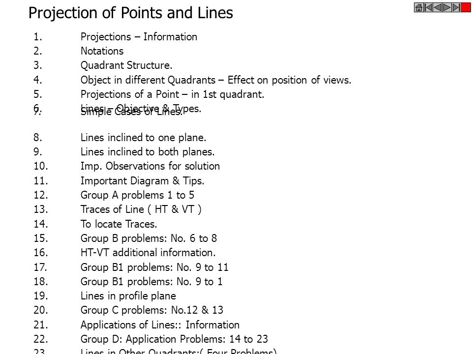 Projection of Points and Lines