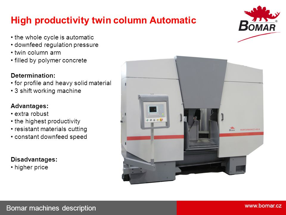 High productivity twin column Automatic