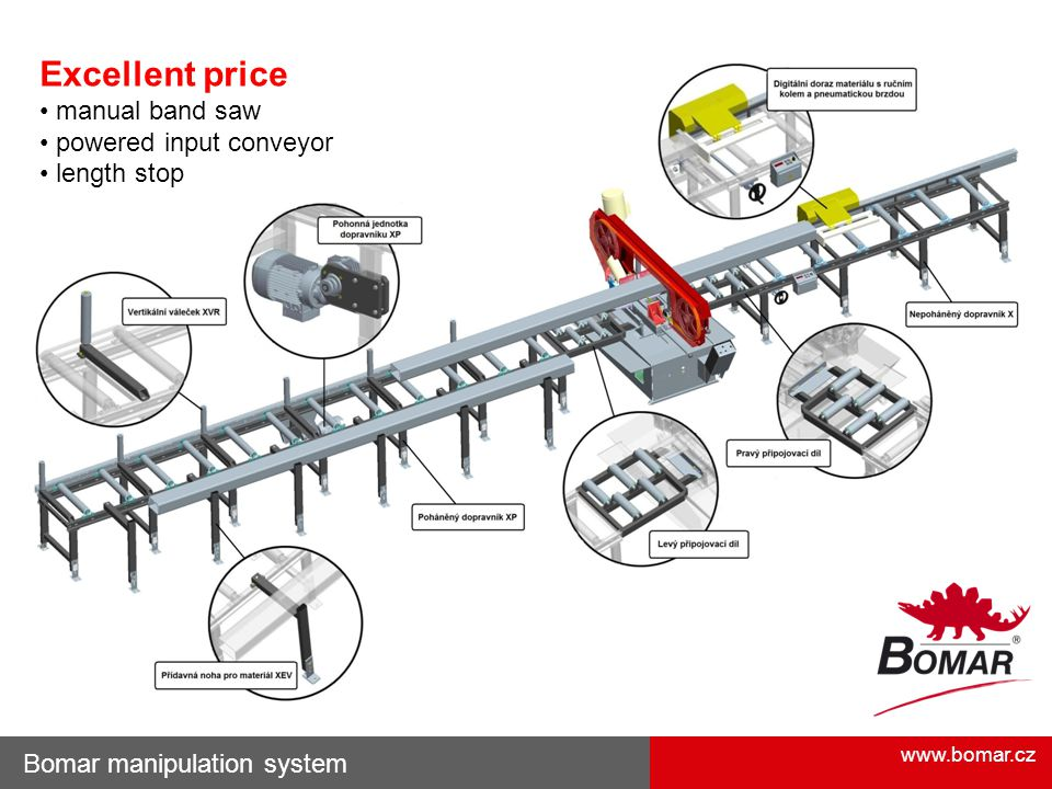 Excellent price • manual band saw • powered input conveyor
