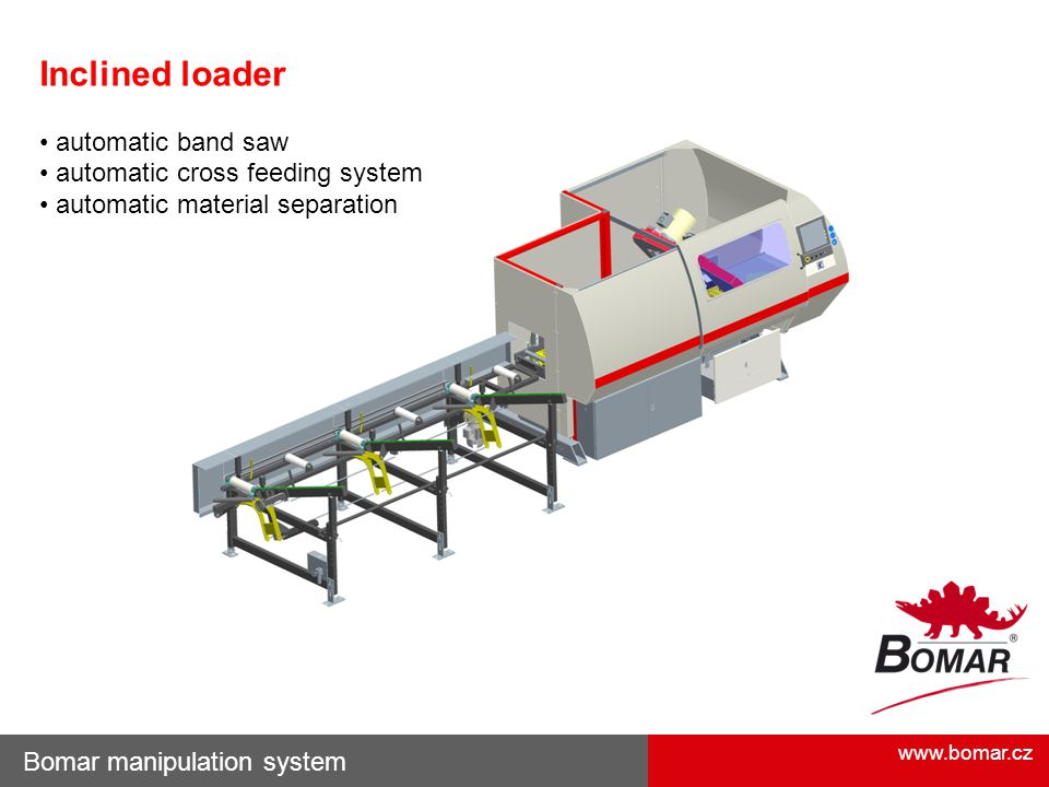 Inclined loader • automatic band saw • automatic cross feeding system