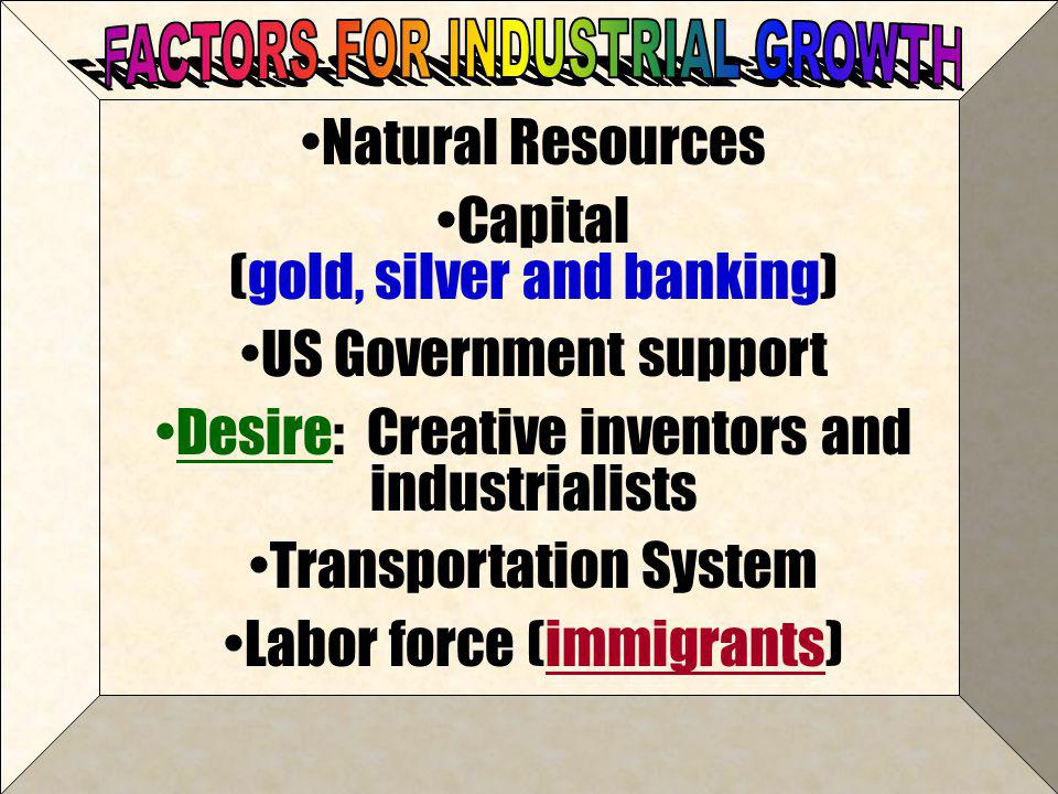 Capital (gold, silver and banking) US Government support