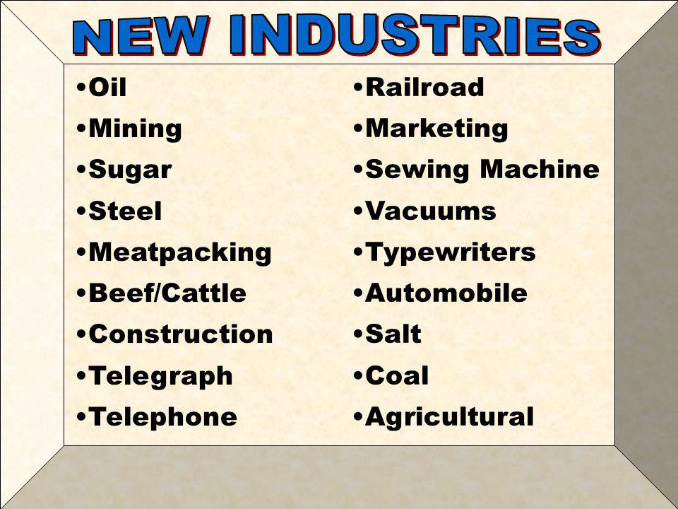 NEW INDUSTRIES Oil Mining Sugar Steel Meatpacking Beef/Cattle