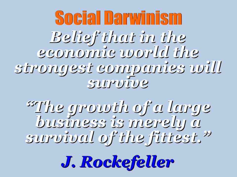 Social Darwinism Belief that in the economic world the strongest companies will survive.