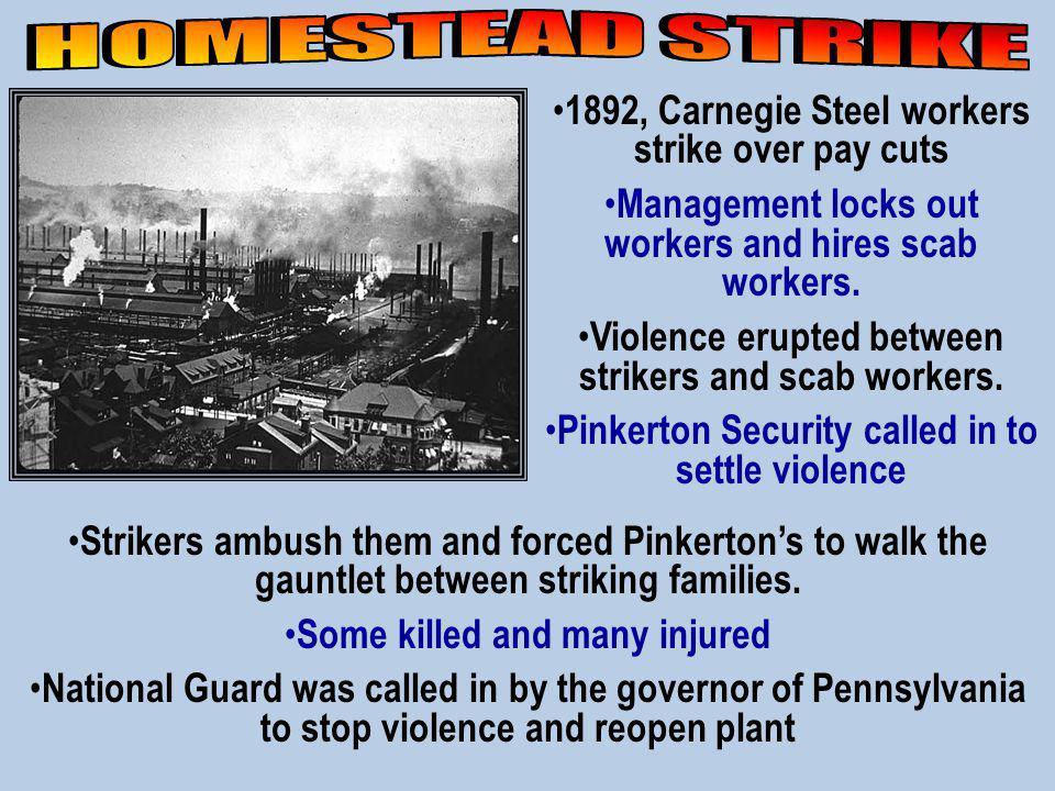 HOMESTEAD STRIKE 1892, Carnegie Steel workers strike over pay cuts