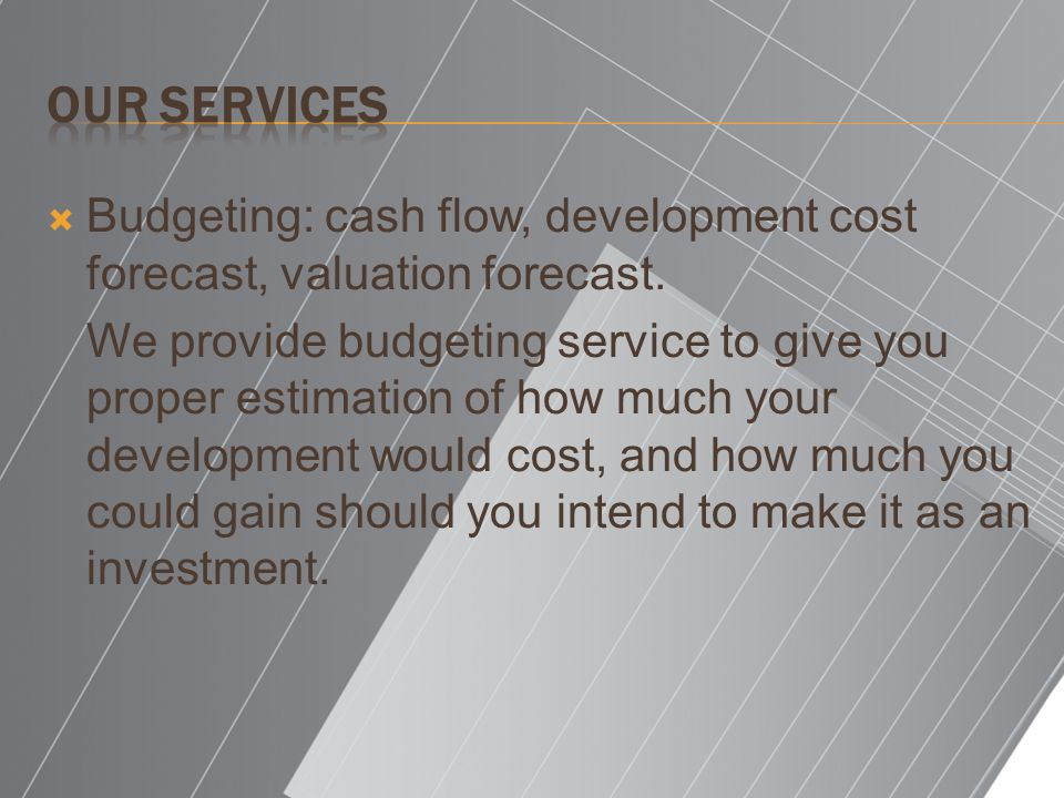 Our Services Budgeting: cash flow, development cost forecast, valuation forecast.