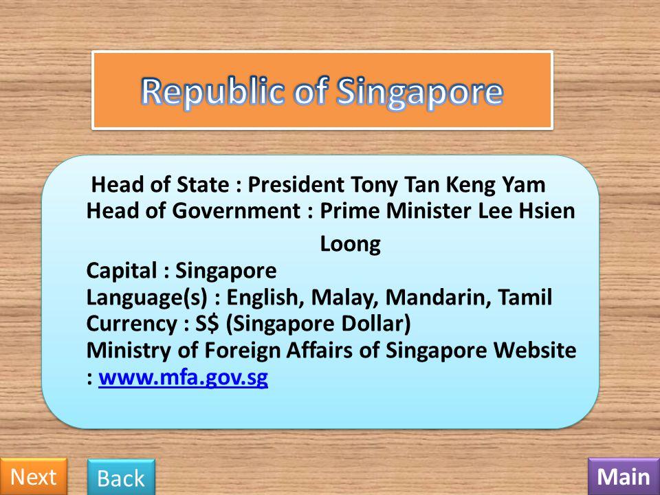 Republic of Singapore Next Back Main