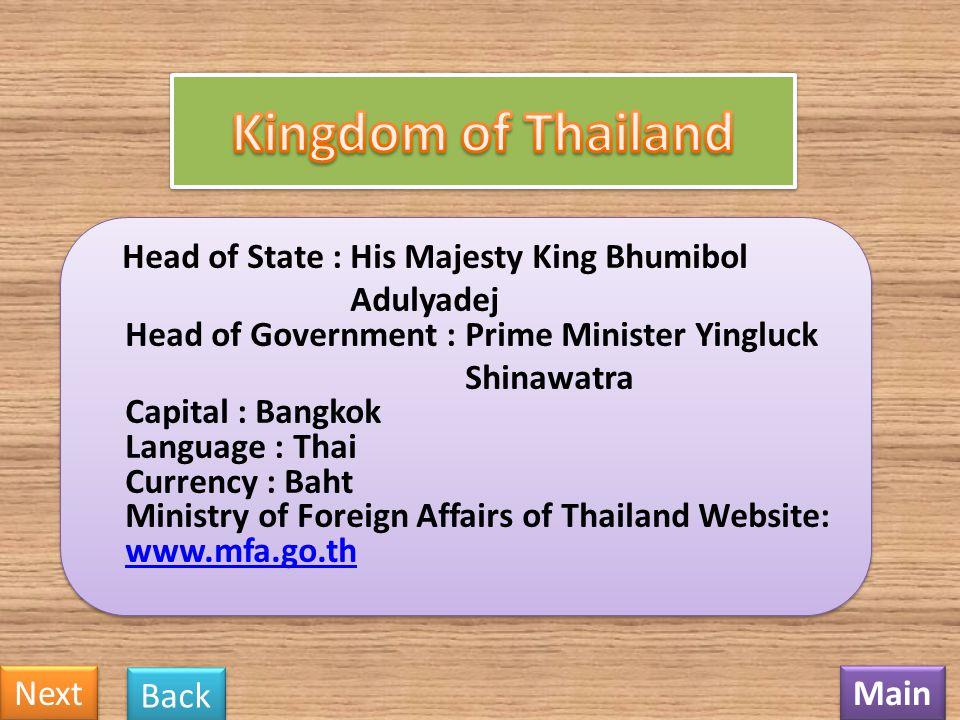 Kingdom of Thailand Next Back Main