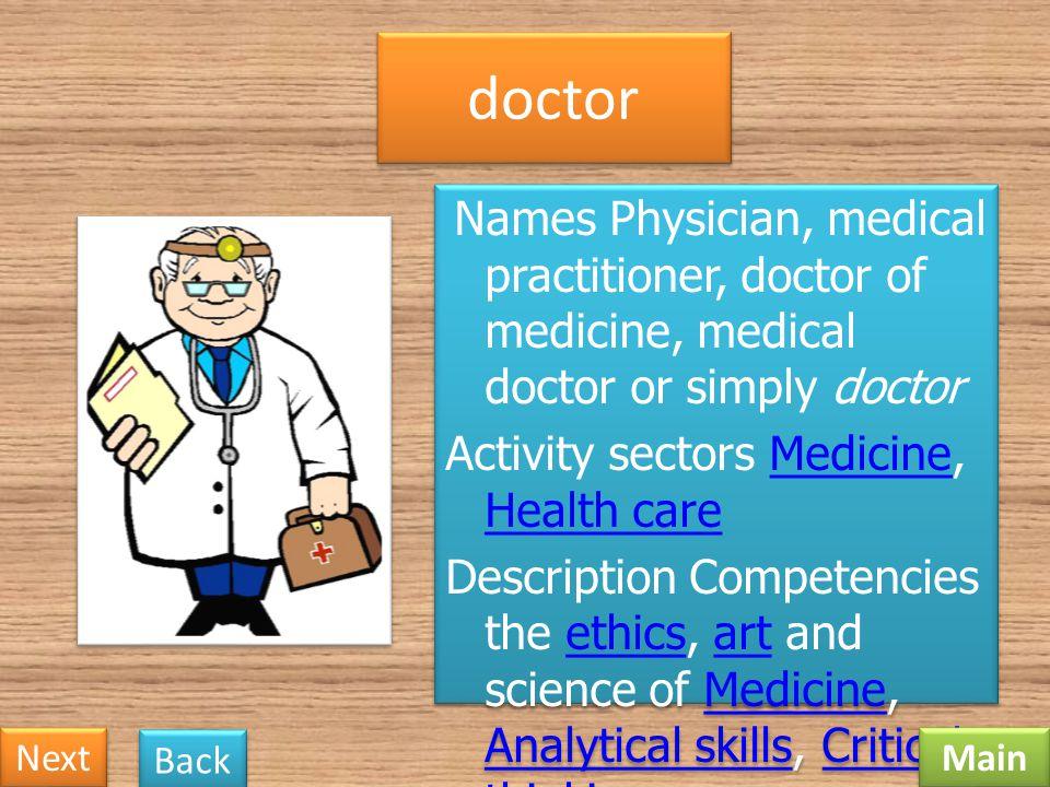 doctor Activity sectors Medicine, Health care