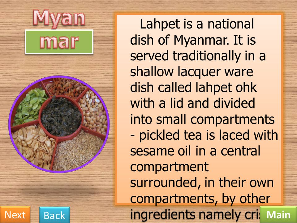 Lahpet is a national dish of Myanmar
