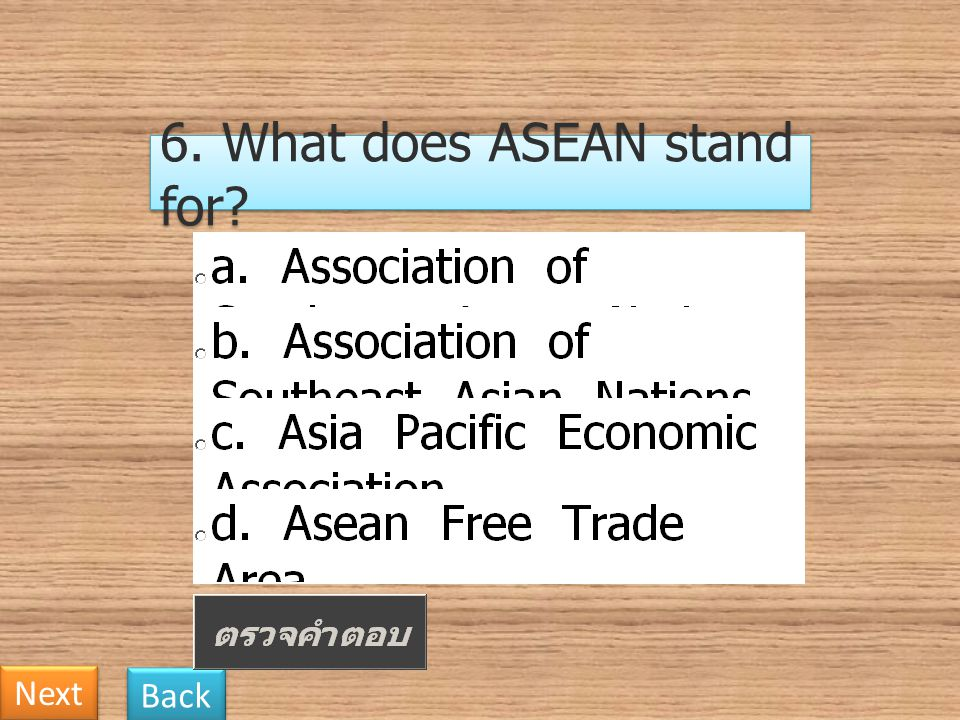 6. What does ASEAN stand for