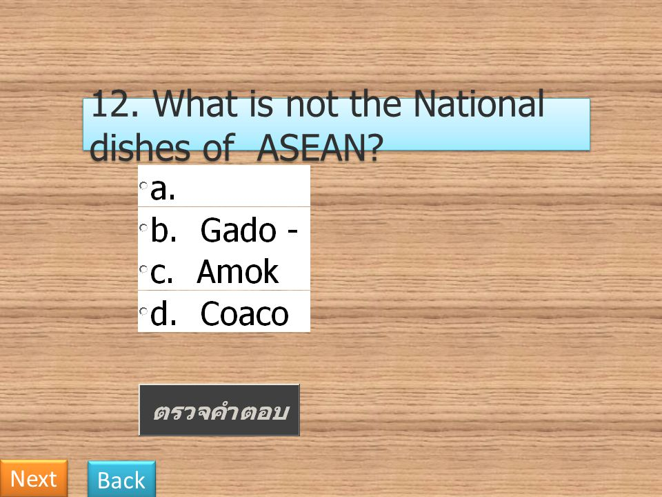 12. What is not the National dishes of ASEAN