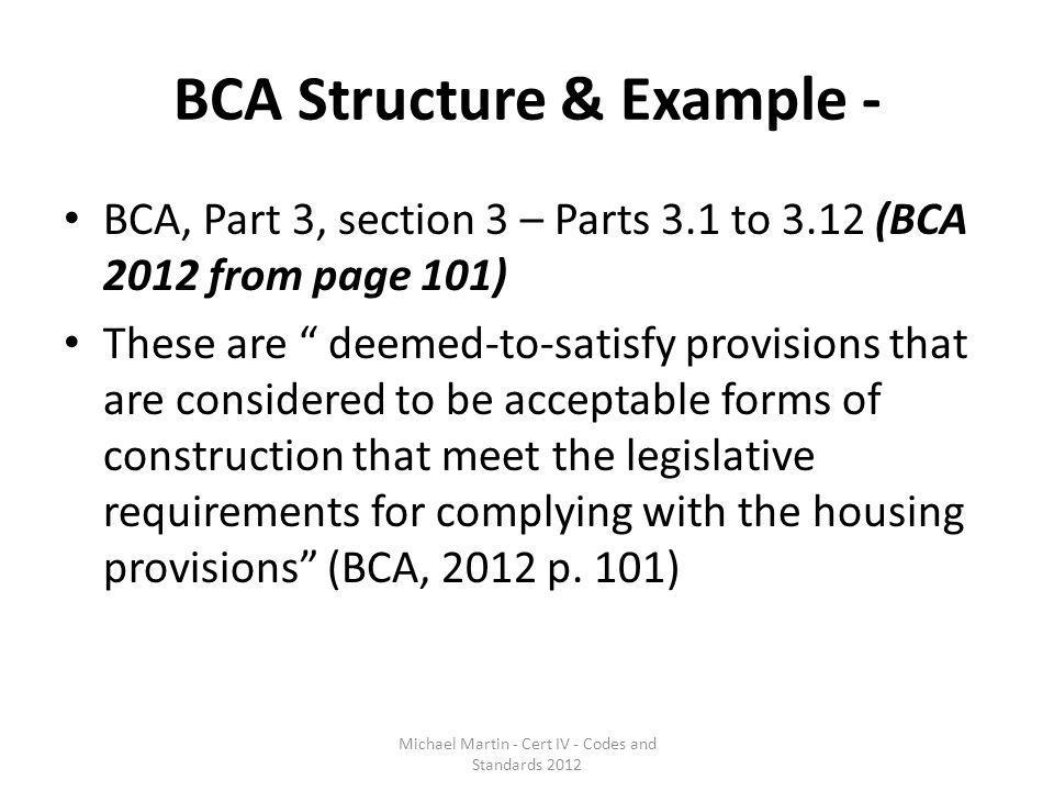BCA Structure & Example -