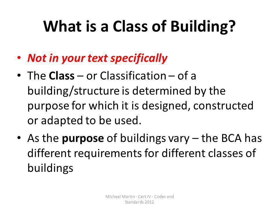 What is a Class of Building