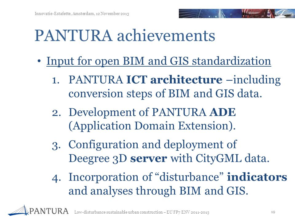 PANTURA achievements Input for open BIM and GIS standardization