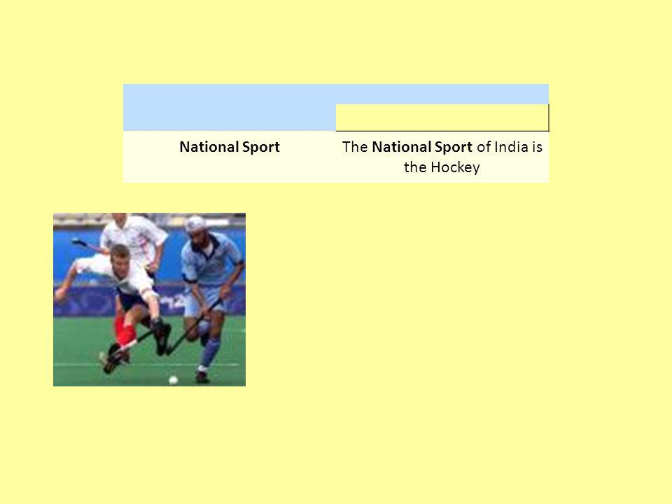 The National Sport of India is the Hockey