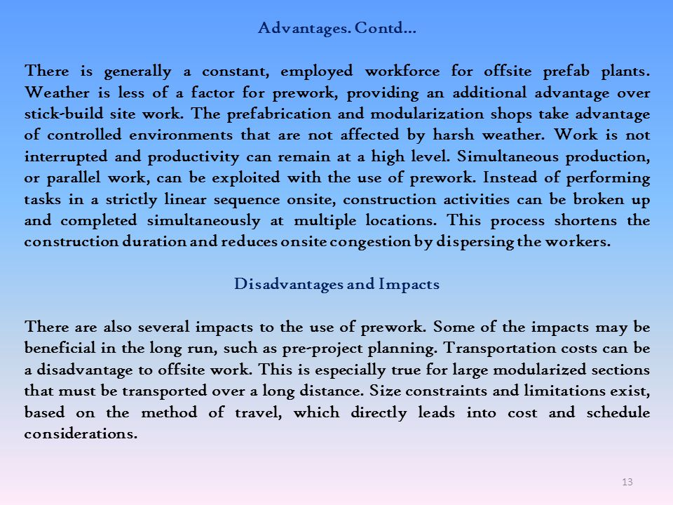 Disadvantages and Impacts