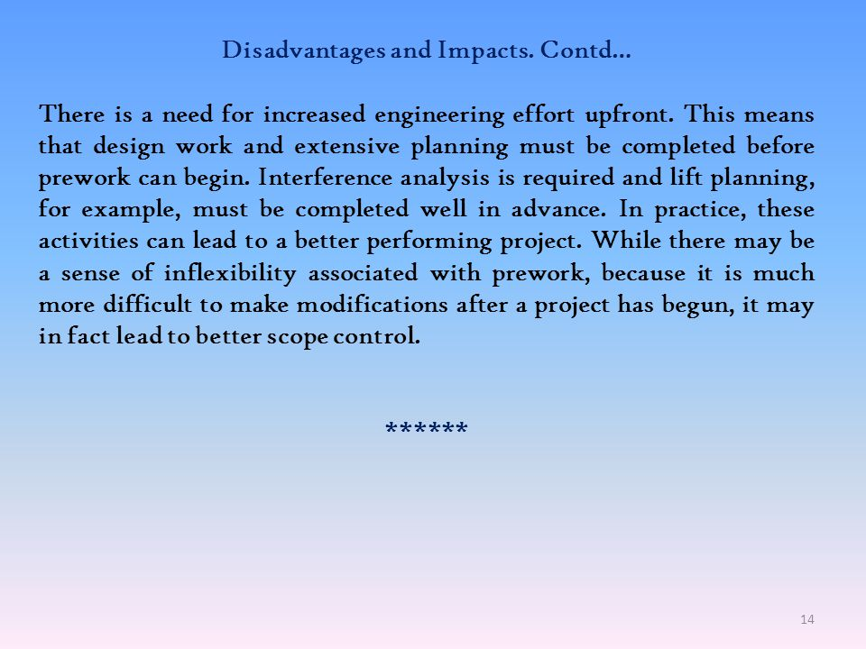 Disadvantages and Impacts. Contd…