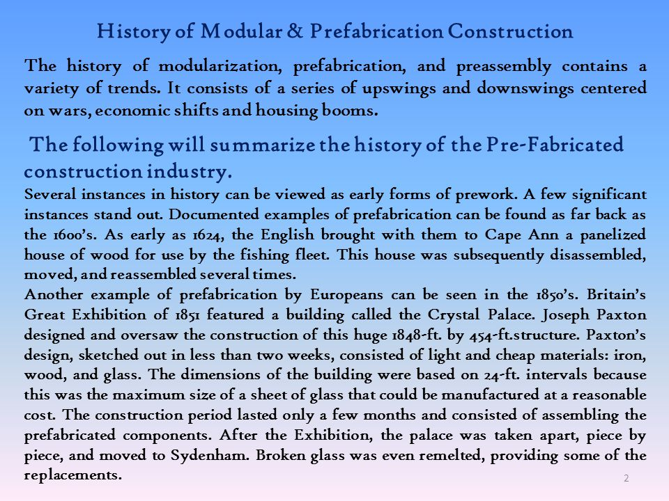 History of Modular & Prefabrication Construction