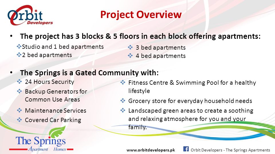 Project Overview The project has 3 blocks & 5 floors in each block offering apartments: Studio and 1 bed apartments.