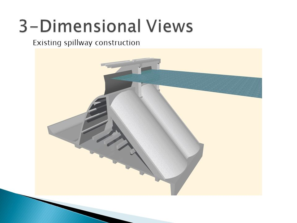 3-Dimensional Views Existing spillway construction