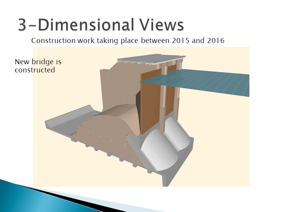 3-Dimensional Views Construction work taking place between 2015 and 2016 New bridge is constructed