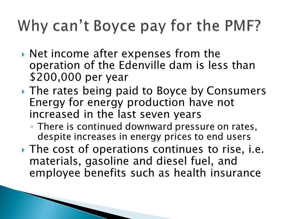 Why can't Boyce pay for the PMF
