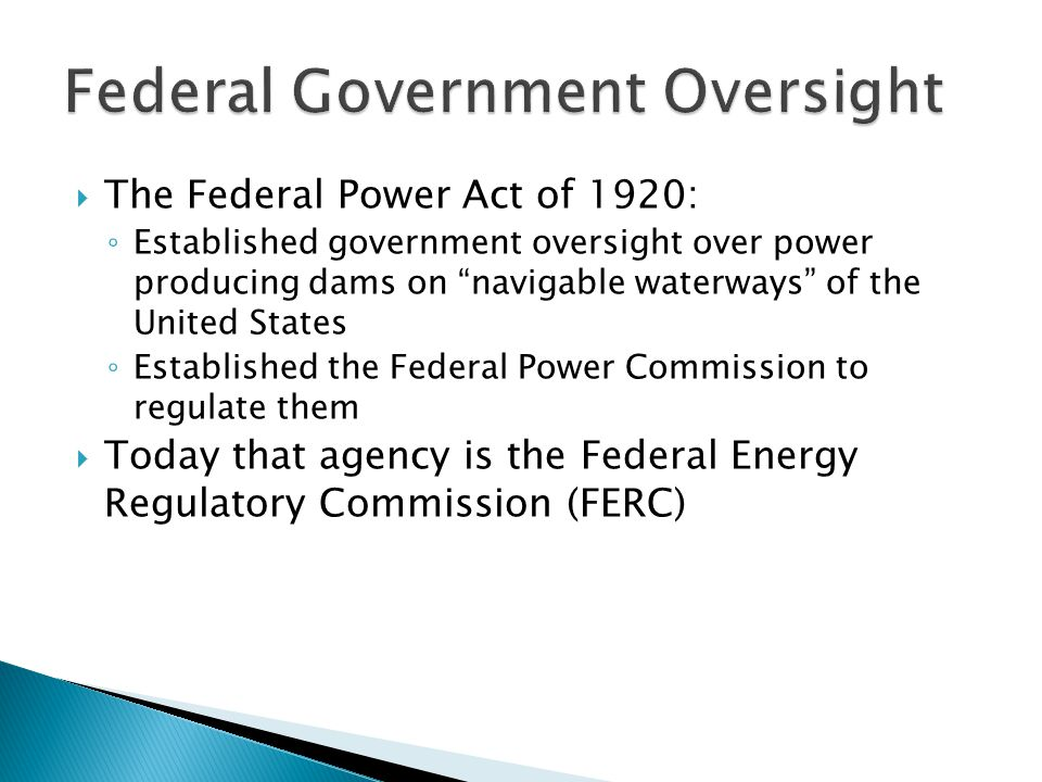 Federal Government Oversight