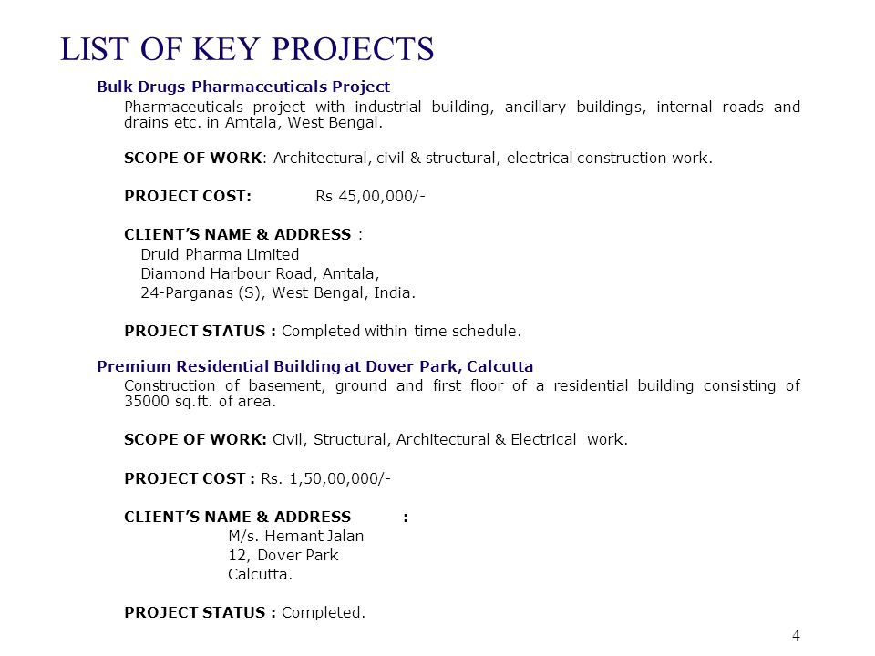 LIST OF KEY PROJECTS Bulk Drugs Pharmaceuticals Project
