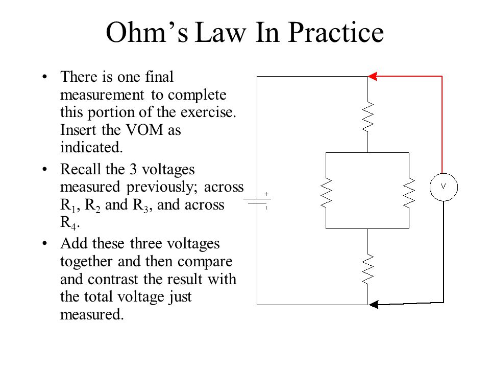 Ohm's Law In Practice There is one final measurement to complete this portion of the exercise. Insert the VOM as indicated.