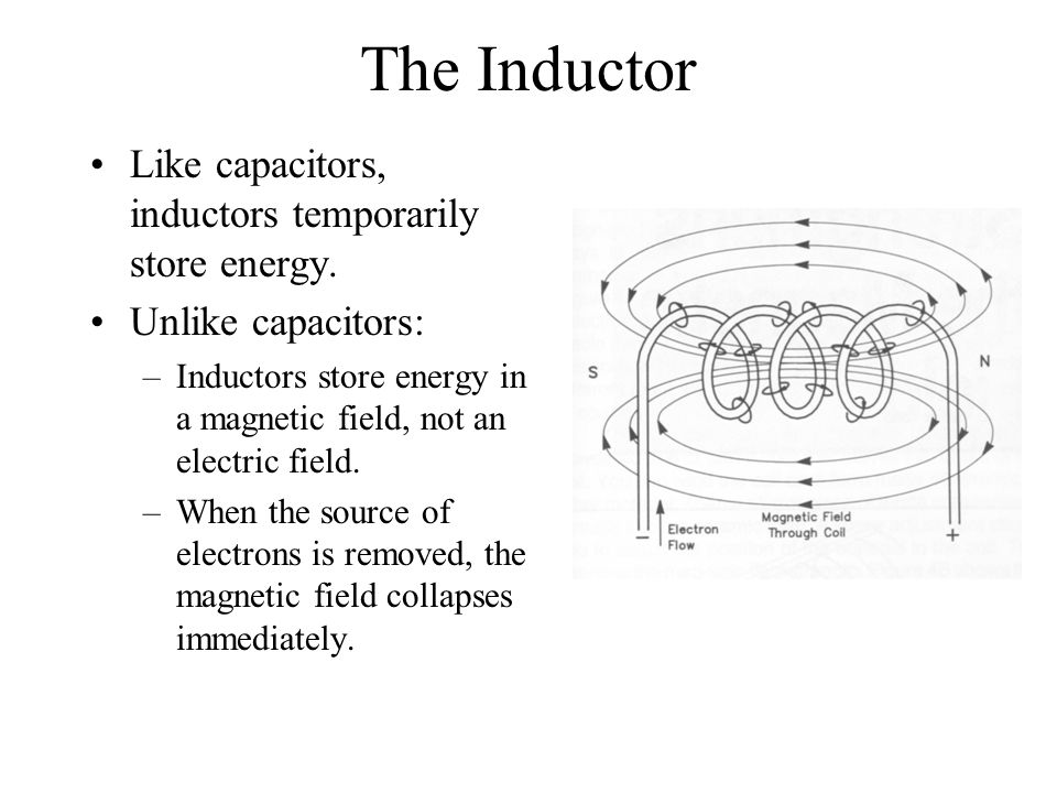 The Inductor Like capacitors, inductors temporarily store energy.