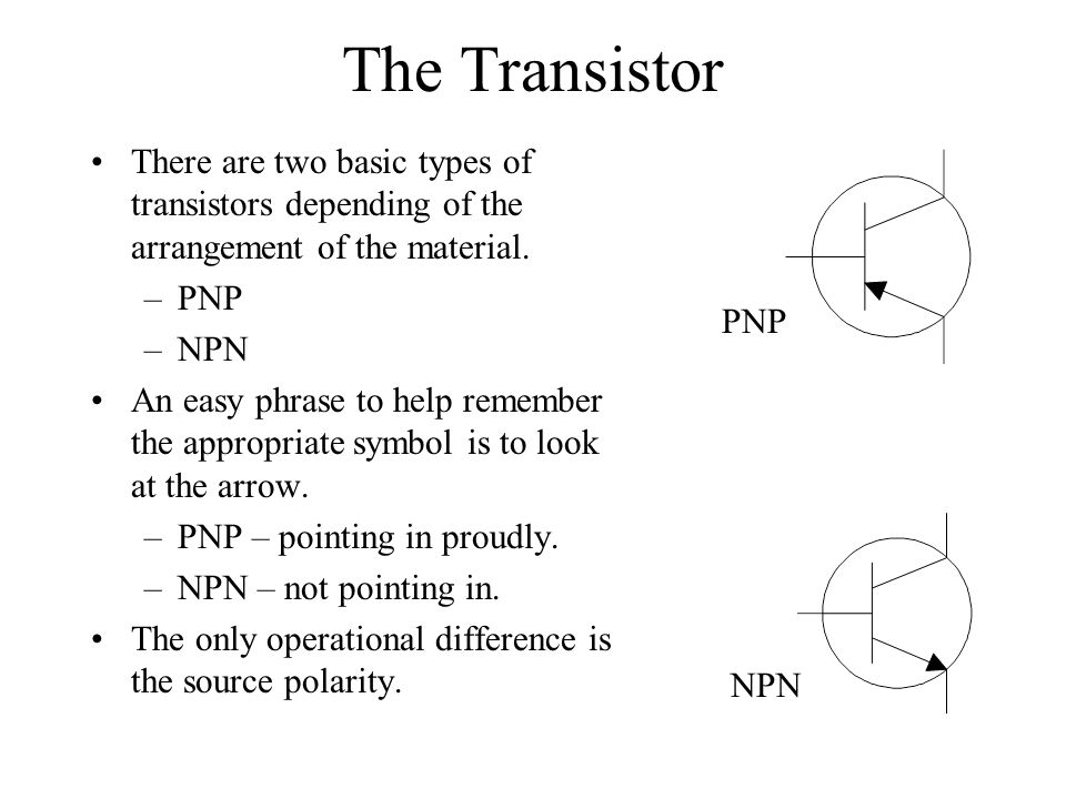 The Transistor There are two basic types of transistors depending of the arrangement of the material.
