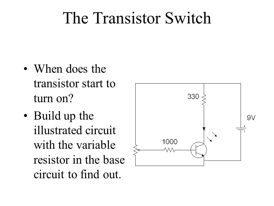 The Transistor Switch When does the transistor start to turn on