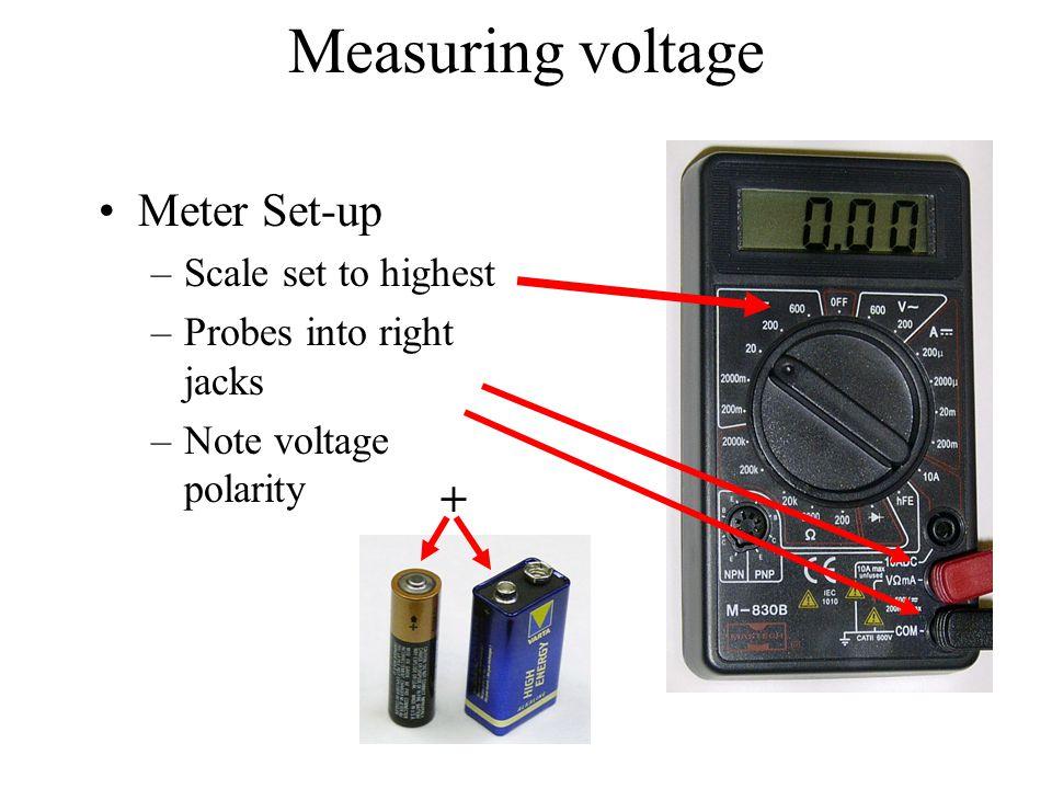 Measuring voltage Meter Set-up + Scale set to highest