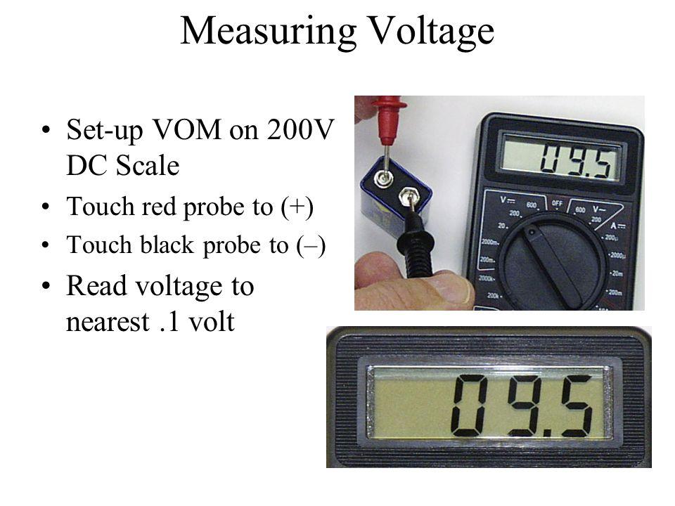 Measuring Voltage Set-up VOM on 200V DC Scale