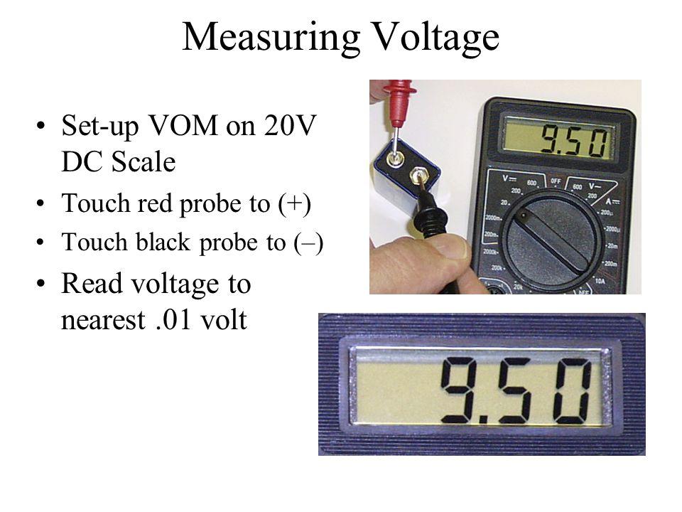 Measuring Voltage Set-up VOM on 20V DC Scale