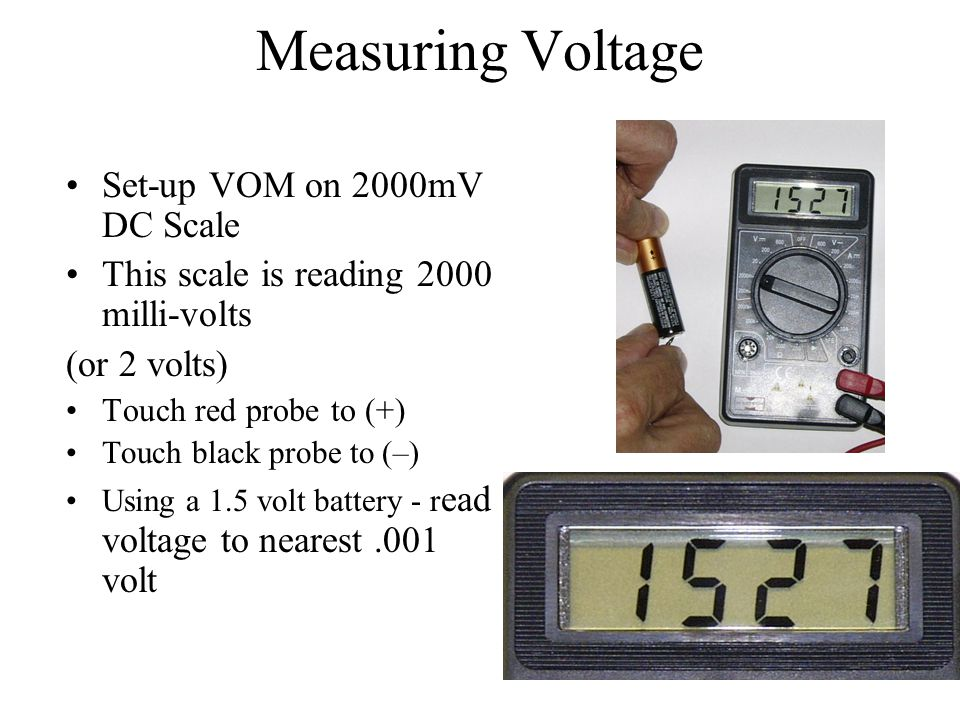 Measuring Voltage Set-up VOM on 2000mV DC Scale