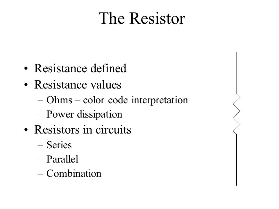 The Resistor Resistance defined Resistance values