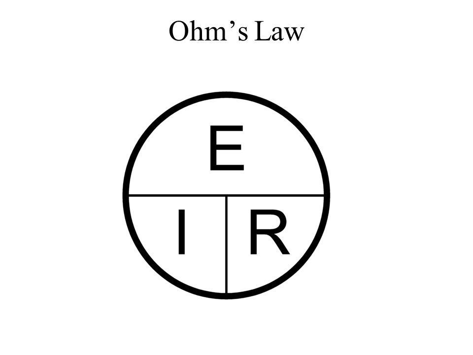 Ohm's Law Some in the audience might find this representation of Ohm's Law more memorable.