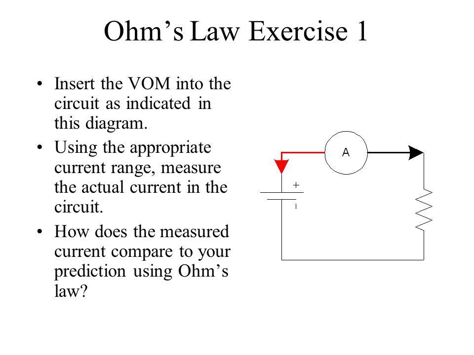 Ohm's Law Exercise 1 Insert the VOM into the circuit as indicated in this diagram.