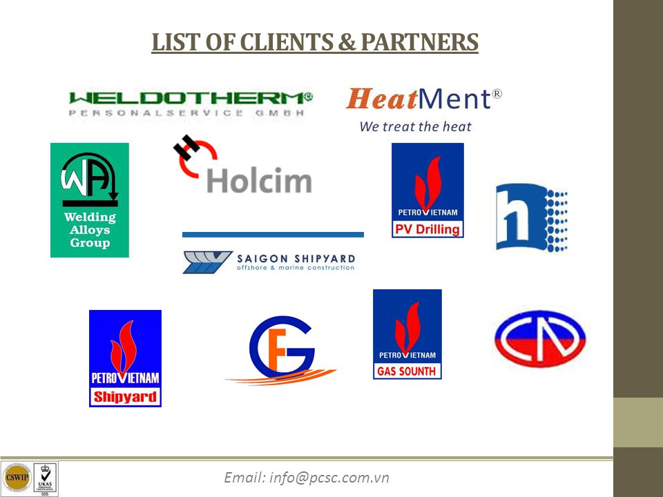 LIST OF CLIENTS & PARTNERS