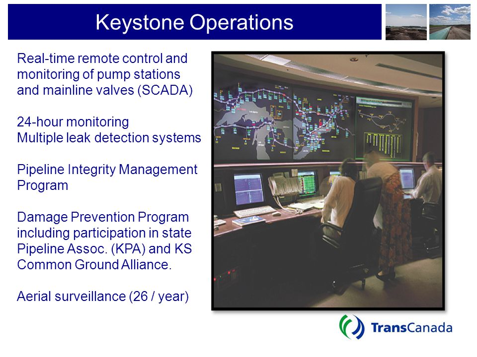 Keystone Operations Real-time remote control and monitoring of pump stations. and mainline valves (SCADA)