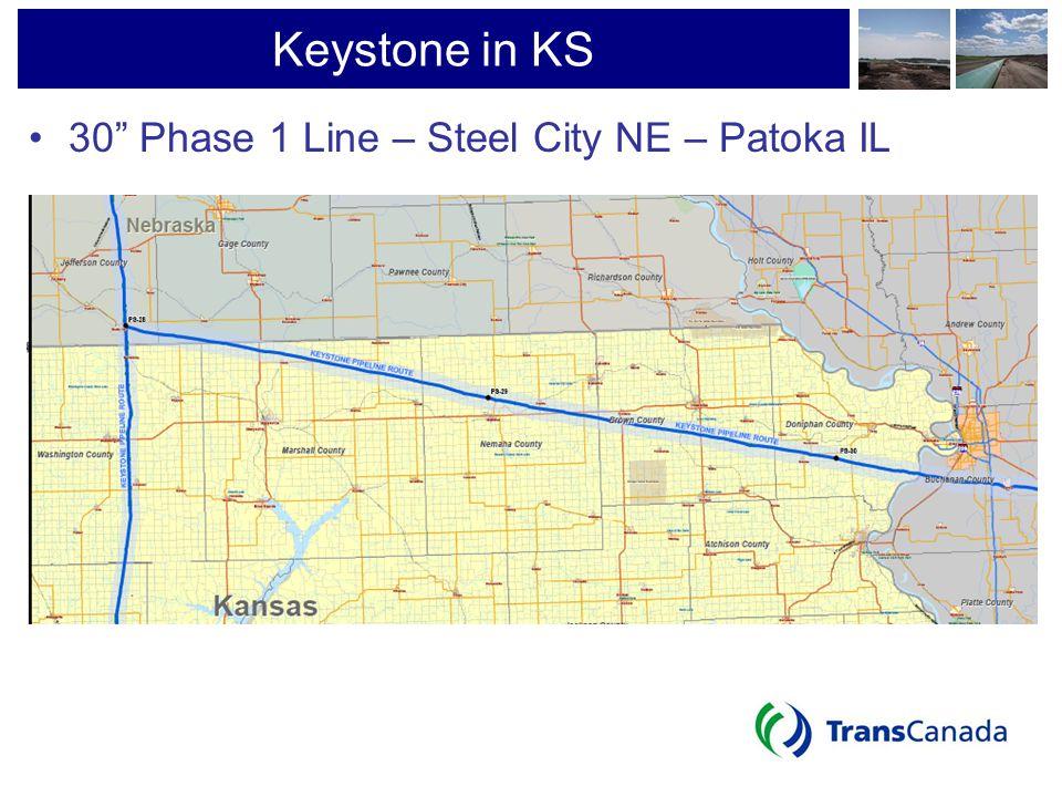 Keystone in KS 30 Phase 1 Line – Steel City NE – Patoka IL