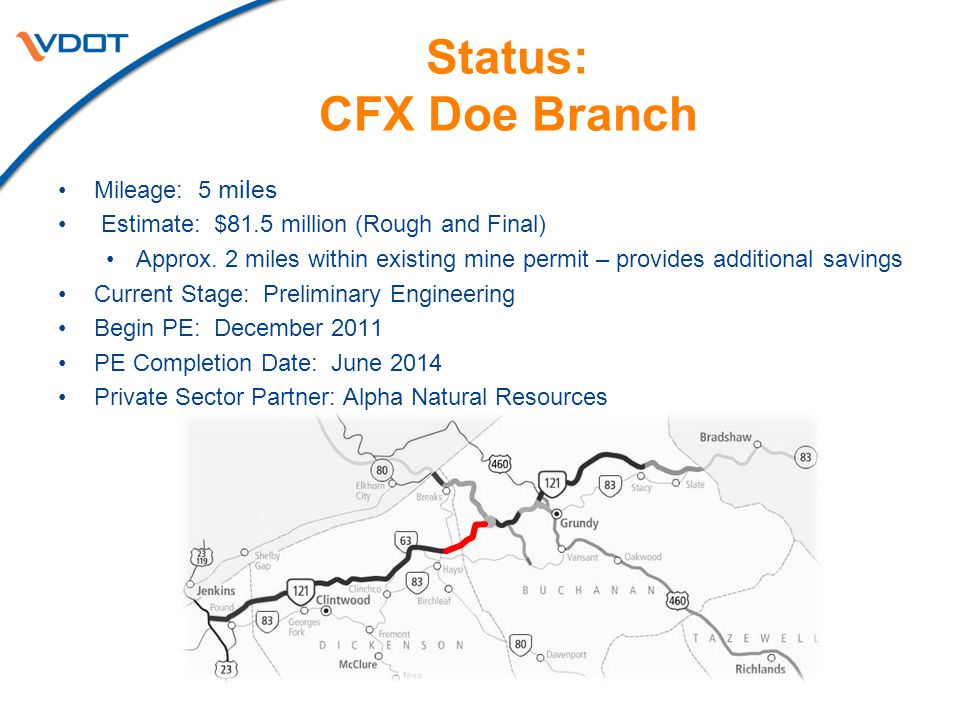Status: CFX Doe Branch Mileage: 5 miles