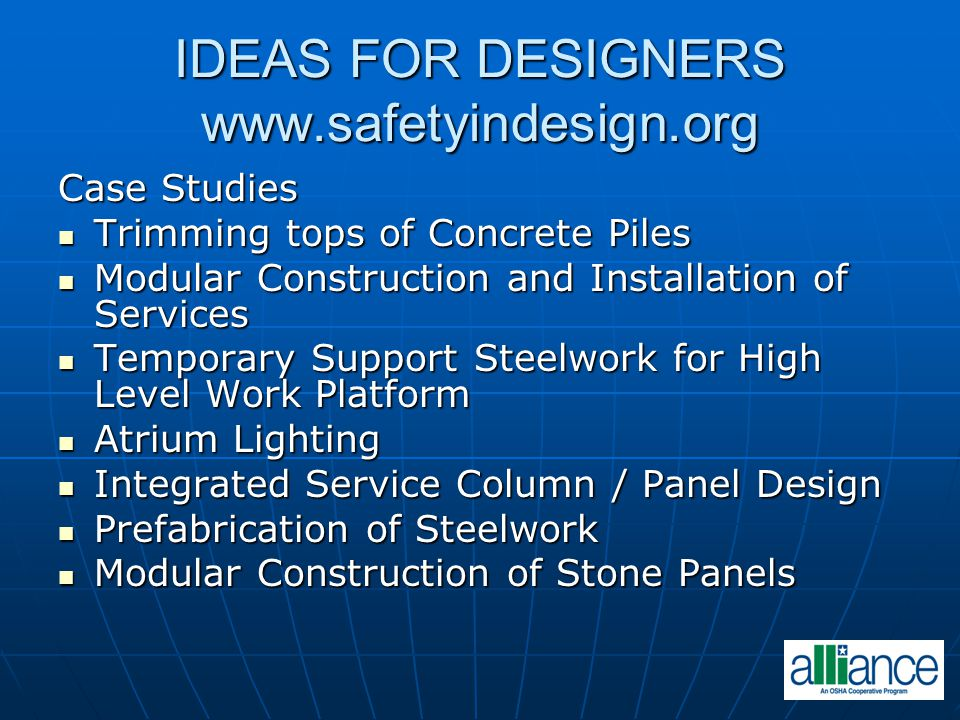 IDEAS FOR DESIGNERS www.safetyindesign.org